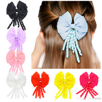 281de297c757 Baby hair clips headbands double layers bows Children Kids Ribbon tail  alligator clips Girls kids hair accessories headwear KFJ135