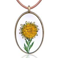 harz sonnenblumen großhandel-Antike Bronze Harz getrocknete Blume Anhänger Halskette Daisy Sonnenblumen getrocknete Blume Pullover Kette Schmuck