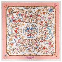 pães de xales impressos venda por atacado-Design de Luxo Quadrado Mulheres Animal Print Cachecol Coringa Rosa Floral Padrão de Pássaro Xales Mulheres Foulard Femme Echarpe Grande Lenços de Sarja