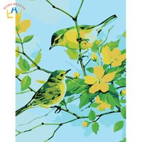 Wholesale flower acrylic paintings canvas - Acrylic paints coloring by numbers birds canvas paintings for living room home decor flowers wall art pictures by numbers W6728