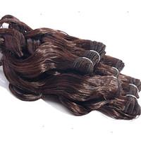 auburn remy pelo virgen al por mayor-El nuevo producto 100% Extensiones de cabello humano 10-30 pulgadas Marrón castaño Color de Malasia Onda corporal Exrtensión del cabello virgen 6a Remy Tejido