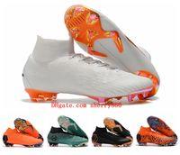 Wholesale boot boys - 2018 top quality kids soccer shoes mens boys football boots soccer cleats Mercurial Superfly KJ VI 360 Elite FG botas de futbol black women