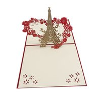 Wholesale eiffel tower candy - Creative 3D Cards & Invitations Jujube Eiffel Tower Pattern Square Paper Greeting Card For Valentine's Day Wedding Party 1PC