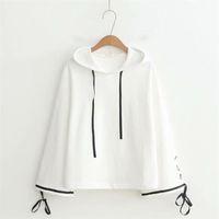 weiße spitze hoodie großhandel-weißes Kapuzenpulli Sweatshirt für Frauen Pullover Mori Mädchen Herbst Frühling Japan Stil Langarm-Spitze-up weiß Kapuzenoberteil