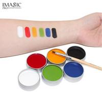 Wholesale face paint palette - IMAGIC Face Paint Body Painting Palette 6 Colors Set Flash Tattoo Party Halloween Makeup Temporary Tattoos Pigment Art Make Up Kit Tool