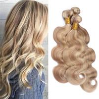 honigbraune haare weben großhandel-# 27 Honig Blonde Highlights # 613 Blonde Piano Menschliches Haar Bundles Hellbraun Blonde Mischfarbe Brasilianische Körperwelle Virgin Hair Weave