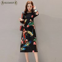 Wholesale Long Sleeved Cheongsam - 2018 New Autumn Winter National wind Women Dress 3XL Retro Slim Was thin Printed Dress Long-sleeved Cheongsam Female QW68