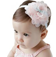 tiara del pelo de la flor del cordón del bebé al por mayor-Diadema de bebé recién nacido Diadema de flores de tela hecha a mano Diadema de niño Accesorios Niño Banda de pelo linda Chica Nylon Diadema de arco Tiara