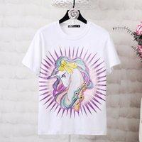 ingrosso camicia bianca stampata per i bambini-Ins Hot Family corrispondenza Outfit Summer White Unicorn ricamo stampato a maniche corte T-shirt allentata stile sottile uomo donna abbigliamento per bambini Top T
