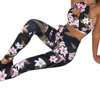 Wholesale ladies short yoga pant for sale - Laamei Floral Printed Women Two Piece Sets Halter Sexy Criss Cross Tracksuits Lady Female Fashion Clothing Short Top Pants Suits