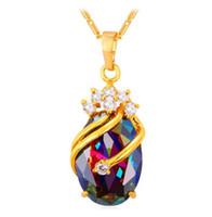 jóia de cristais de zircão venda por atacado-Pingente de cristal Zircão Cúbico Cor de Ouro Na Moda Festa de Casamento Presente Para As Mulheres de Jóias Brancos Colares P794