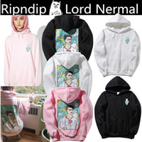Wholesale Cheap Ripped Sweaters - Europe and United States tide Rip N Dip card Frida painting spoof cheap cat leaves cat hooded sweater women men velvet hoodie coat