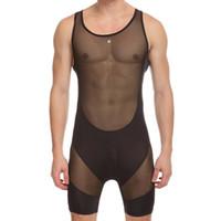 transparente nylonbodysuits großhandel-sexy Männer Fitness Conjoined Vest Mesh Transparent Body Shaper Männer Unterwäsche Herren Bodys