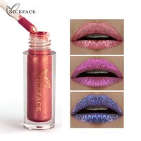 Wholesale glow gloss - NICEFACE 6 Colors Makeup Shimmer Lip Gloss Glow Liquid Nude Metals Peal Bright Cosmetic Silkworms Lip Gloss 1224056