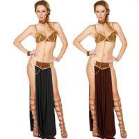 esclavos de oro al por mayor-2017 Nueva Sexy Carnaval Cosplay Princesa Leia Slave Costume Dress Gold Bra and Neckchain traje de la diosa egipcia