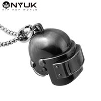 Wholesale Game Helmets - New Style Level 3 Helmet 3D Pendant Necklace Player Necklace Alloy Hip Hop Black Gun Plated for Men Game Jewelry