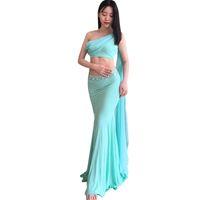 индийское платье для танца живота оптовых-Bellydance oriental Belly  eastern baladi saidi swinging robe dance dancing costumes clothes bra belt skirt dress set 3311