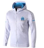 Wholesale Hoody Tops - Top Quality Survetement football Maillot de Foot om capuche Olympique de Marseille hoodie jacket Thauvin soccer equipment Tracking hoody