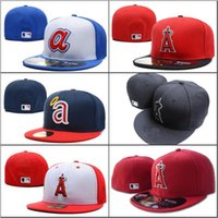 ingrosso cappelli da baseball-2018 Nuovi Angeli da uomo Cappello con montatura colore rosso piatto Brim embroiered Una lettera team logo fan baseball Cappelli taglia angeli full closed Chapeu marche