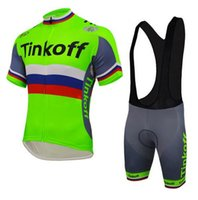 Wholesale jersey cycling saxo green online - hot Tinkoff Saxo Cycling Jerseys Set Short Sleeve With Padded Bib None Bib Trousers Bicycle Clothes Close Fitting Three styles