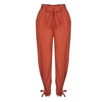 Wholesale High Waist Harem - Womens Ladies Elastic High Waist Harem Casual Chiffon Trousers Loose Long Pants Capris With Bow Tie RF0882