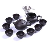 Wholesale bone china teapots - Kung Fu Tea Set Yixing Teapot Handmade Purple Clay Tea Pot Cup Set ,Zisha Ceramic Chinese Tea Ceremony Gift