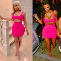 c4f0c58971c53 Женщины Sexy Bodycon Party Dresses Bandage Jumper 2018 Мода Сердце полые  розовые красные без рукавов Backless Night Club Slim Mini Dress