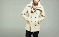 Mens TWO-breasted Wool Cashmere Slim Overcoat Fits Long Trench Coats Outwear Lapel Collar 7Colors
