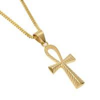 pharao halsketten großhandel-Edelstahl Cut Pattern Alten Ägypten Pharao Ankh Key Cross Hip Hop Männer Frauen Anhänger Halskette Schmuck