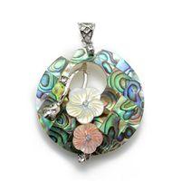 ingrosso handmade shell necklace-Gioielli fatti a mano Rotonda Paua Abalone Shell Ciondolo con collana di perline Catena Giallo Rosa Fiori Gioielli unici