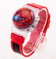 rote kinderuhr großhandel-Spider-Man Kinder Cartoon Watch Puzzle Anime elektronisches Spielzeug Student Boy rot blau Silikon Strap neuen Stil