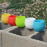 Wholesale Colorful Artificial Flowers - Colorful Mini Flower Pots Planting Pot Gardening Plastic Pots Plant Flowerpot Office Decoration Garden Supplies 10*10cm Free DHL HH7-897