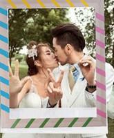 requisiten foto-stand design hochzeit großhandel-Frame Photo Booth Props Fotografie Maske Papier Karte Hochzeit / Geburtstag / Team Braut Party Dekoration Geschenk Streifen Design