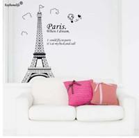 fondo de pantalla eiffel al por mayor-Romantic Paris Eiffel Tower Hermosa vista de Francia DIY Pegatinas de pared Wallpaper Art Decor Mural Room Decal YYJ0