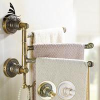 barra de gancho de baño al por mayor-Toalleros de latón 2-5 Layer Rail 2 Towel Hook Hanger Vintage Luxury Accesorios de baño plegable Rotación Bath Towel Bar SL-7836