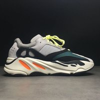 Wholesale Fabric Chalk - 2018 Kanye West Wave Runner 700 Running Shoes 700 Boost Shoes Solid Grey Chalk White Core Black Fashion Casual Sports Sneakers With Box
