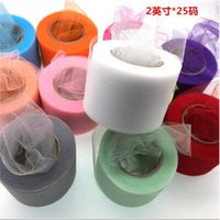Wholesale tulle spools free shipping - Free shipping 2 Inch 25 Yards Colorful Tulle Roll Girl's Tutu Skirt Tulle Fabric Spool Party Birthday Wedding Wedding Decoration