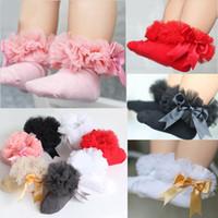 bebek kızları dantel çorapları toptan satış-5 paiys / 10 adet 2-6Y Çocuklar Tutu Çorap Kısa Bebek Kız Çorap Prenses Ipek Kurdele Ilmek Dantel çorap Fırfır Pamuk Ayak Bileği Çorap Fotoğraf Sahne