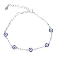 cadenas de enlaces turcos al por mayor-Plata de ley 925 malvados turcos 5 piezas minúsculo lindo ojo malvado discoteca encanto para las mujeres plata delicada cadena de eslabones pulseras de moda joyería