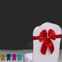 düğün ziyafet sandalyesi şerit toptan satış-Saten Sandalye Kapak Kanat Bow Tie Şerit Dekor Düğün Parti Malzemeleri Otel Banquet Deocor Malzemeleri için Saten Sandalye Sashes