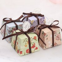 Wholesale Pink Ribbon Favors - Trapezoid Green   Purple   Blue   Pink Floral Printed Flower Wedding Favors Candy Boxes Party Gift Boxes With Ribbons