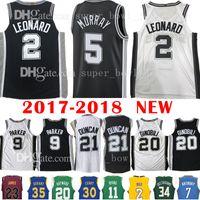 Wholesale free tim - 2018 New Men's 2 Kawhi Leonard 5 Dejounte Murray Jersey 21 Tim Duncan 9 Tony Parker 20 Manu Ginobili Basketball Jerseys free shipping