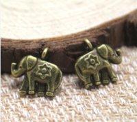 elefantenbronze charme anhänger großhandel-20Pcs / lot Elefantcharme - antike tibetanische Bronzeelefantanhänger / Anhänger 12x12mm