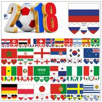 Wholesale paper matches - 2018 FIFA World Cup Tattoo Sticker National Flag Banners Russia Football Match Soccer Fans Face Wrist Body Stickers CCA9575 2000pcs