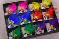 Wholesale souvenir fridge magnets - Mini Masks Carnival of Venice Tourist Travel Souvenir 3D Mask Fridge Magnet Wearing Hat with Feathers Party favors colorful gift