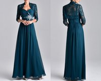 Wholesale free freight - Free Freight New Dresses Long Sleeved Evening Dresses Mother long Lace Chiffon Seven Minute Sleeves And Two Party Dresses HY0416