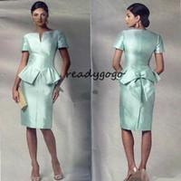 diz boyu elbiseler artı boyut tafta toptan satış-Artı Boyutu Nane Yeşil Kılıf Anne Gelin Elbiseler V Boyun Kısa Kollu Diz Boyu Düğün Güst Etek Tafta Kısa Akşam giymek