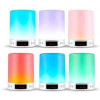 ingrosso luci di display a led senza fili-S66 + Altoparlante Bluetooth portatile Luce notturna Wireless Stereo Touch Sound LED Tempo di visualizzazione della lampada Sveglia Supporto vivavoce TF Card AUX