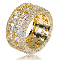 Wholesale Ring - Hot sell mens ring vintage hip hop jewelry Zircon iced out copper rings luxury gold silver plated for lover fashion Jewelry wholesale 2018