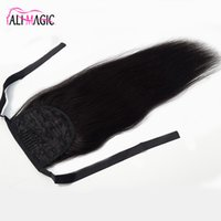 Wholesale ponytails online - Human Hair Ponytail Natural Hair Ponytail Hair Extensions Remy Straight European Ponytail Hairstyles Clip In Extensions By AliMagic Factory